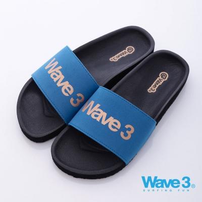 WAVE3 台灣製 男印刷LOGO運動休閒拖-藍黑