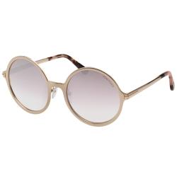 TOM FORD  水銀面 復古圓框 太陽眼鏡-金色-TOM572