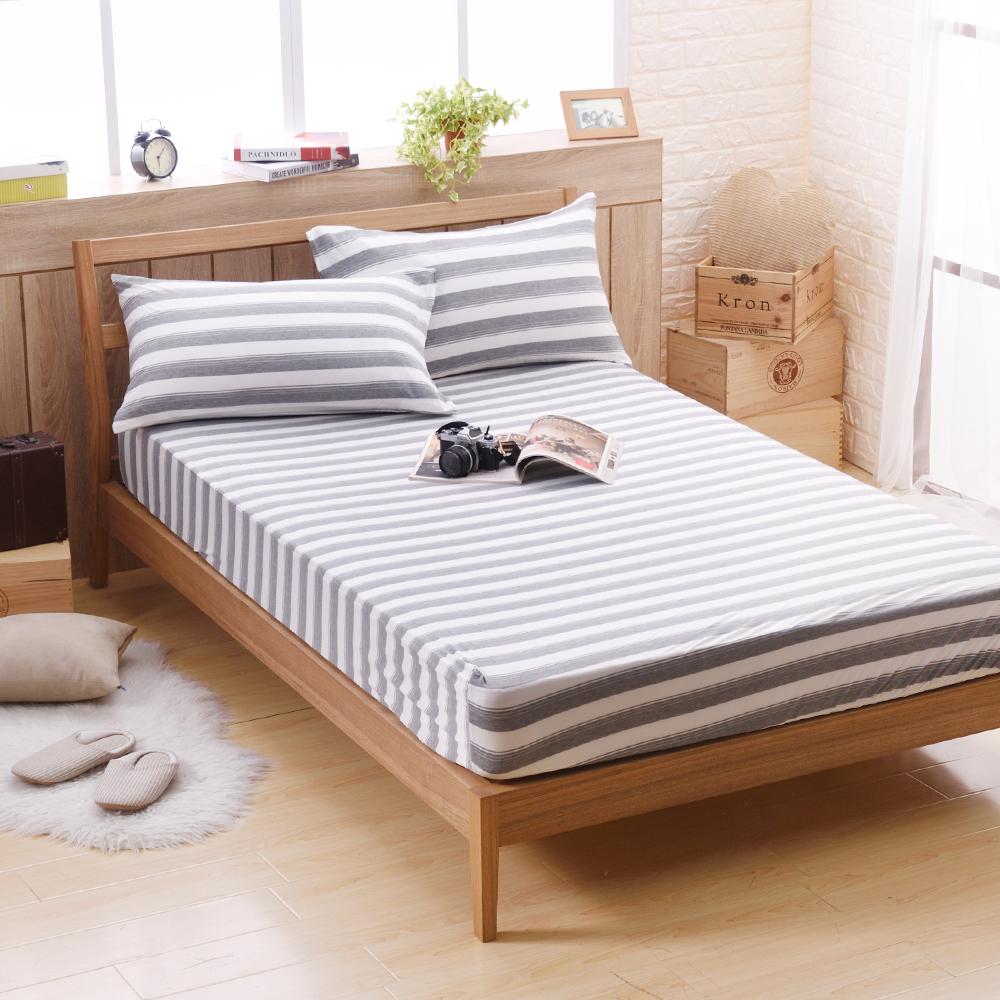 喬曼帝Jumendi 超涼感纖維針織單人兩件式床包組-條紋灰