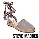 STEVE MADDEN-MESA 麻編厚底綁帶涼鞋-絨灰