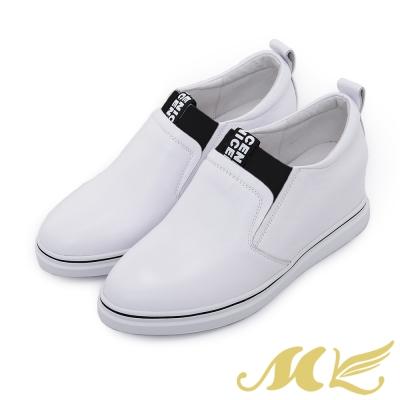 MK-全真皮系列-帥氣素面內增高休閒鞋-白色