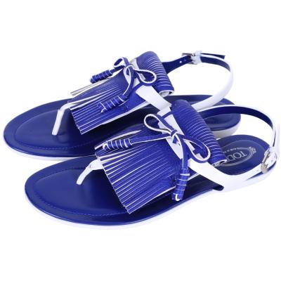 TOD'S 拼色流蘇夾腳平底涼鞋(藍x白)