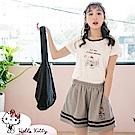 旅行KITTY~高含棉滾邊造型短袖上衣-OB大尺碼
