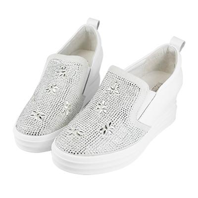 Robinlo & Co. 精緻燙鑽真皮內增高休閒鞋 白色