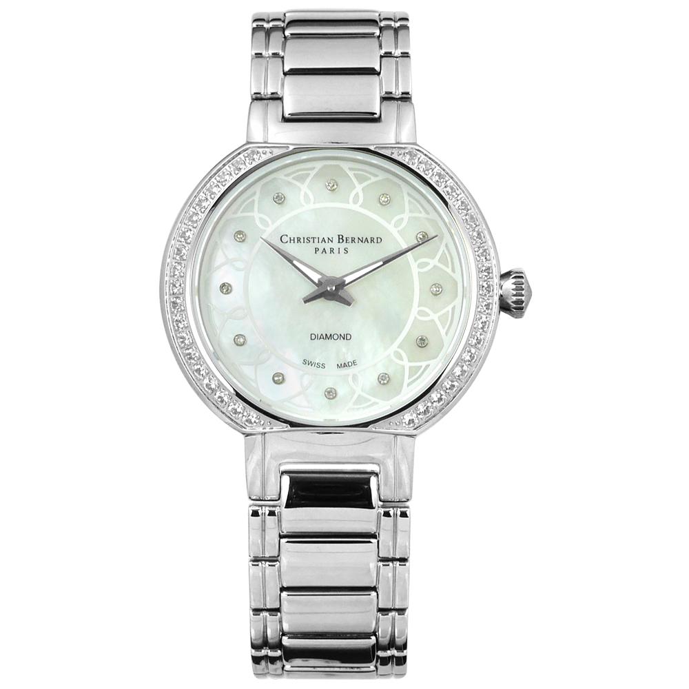 CHRISTIAN BERNARD 伯納錶 白剛玉真鑽珍珠母貝不鏽鋼手錶-銀色/33mm