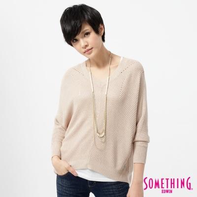 SOMETHING-針織衫-休閒寬鬆線衫-女-灰卡其