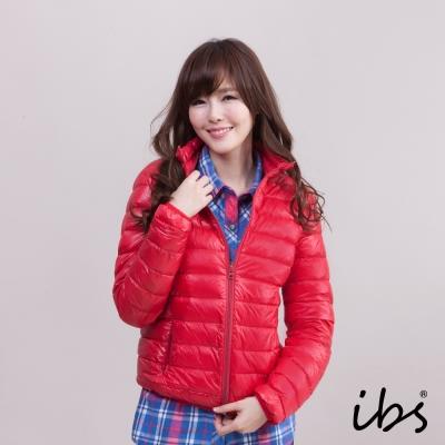 ibs 極輕量純白絨立領羽絨外套-紅色-女