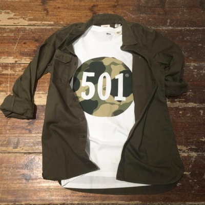 Levis-男款Logo501印花純棉白色短袖T恤