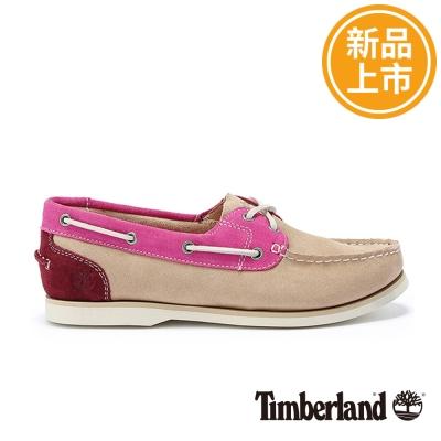 Timberland-女款駝色撞色麂皮素面綁帶帆船