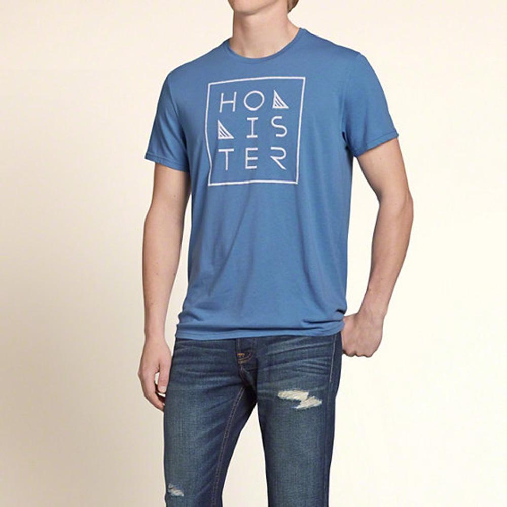 HOLLISTER Co. 男裝 造型框線字母短T恤(藍)-薄款