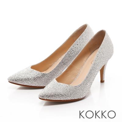 KOKKO-經典手工尖頭璀璨桃心高跟鞋 - 銀河