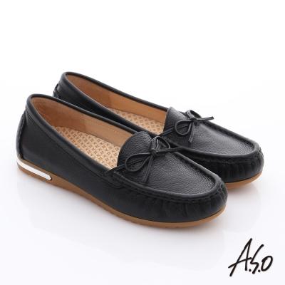 A-S-O-縫線耐走-全牛皮細帶蝴蝶平底鞋-黑