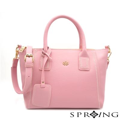 SPRING-微漾甜心車縫手提包-粉