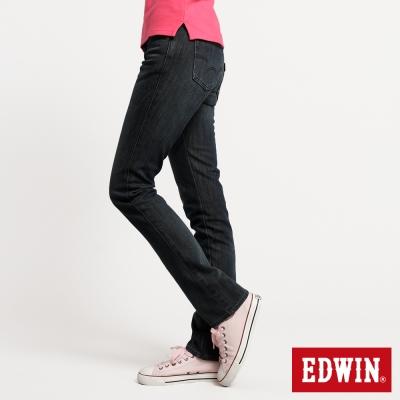 EDWIN窄直筒EDGE紫格牛仔褲-女-酵洗藍