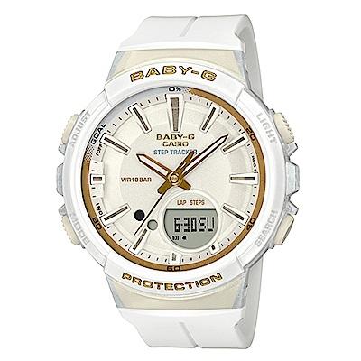 BABY-G 熱愛運動女性配備計步設計閒錶(BGS-100GS-7)白X金時刻42.6mm
