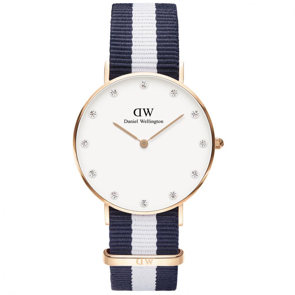 Daniel Wellington亮麗休閒女錶-玫瑰金框x藍白帶/34mm