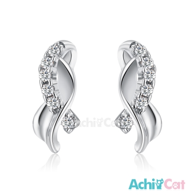 AchiCat 925純銀耳環 華麗緞帶 純銀耳針