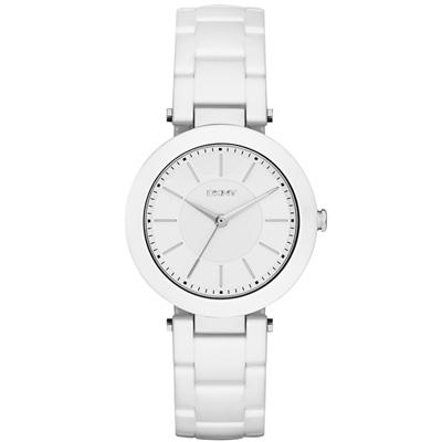 DKNY 曙光派對時尚陶瓷腕錶-白/36mm