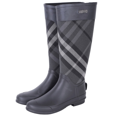BUEBERRY 格紋拼接橡膠長筒防水雨靴(灰黑色)