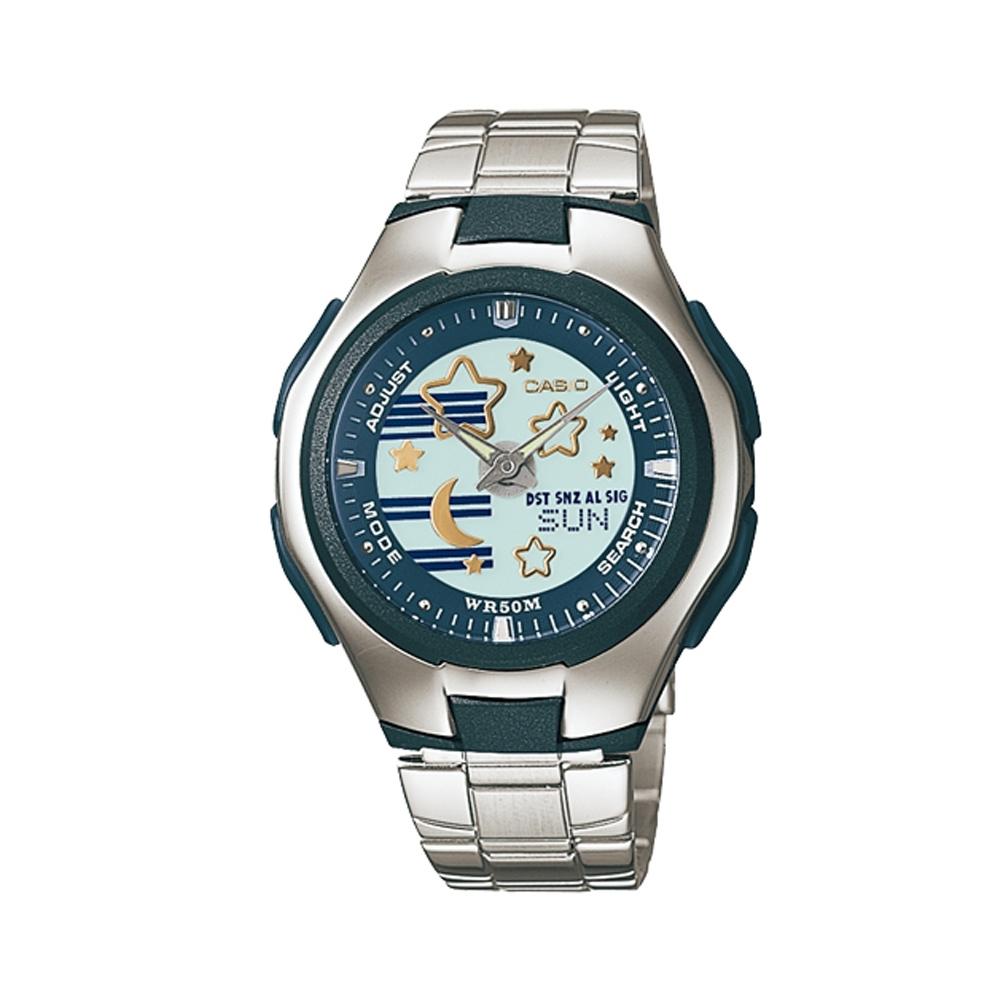 CASIO Popton系列 夢幻星空雙顯鋼帶錶(LCF-10D-2A)-36.5mm