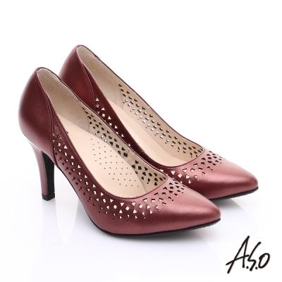 A.S.O 減壓美型 全真皮縷空浪漫高跟鞋 紅
