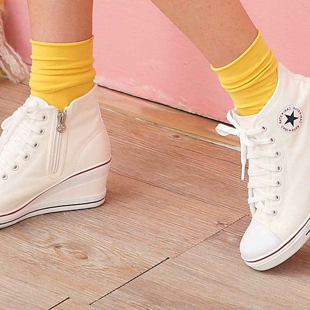 Blossom Gal韓製馬卡龍多彩直紋糖果襪2入組鮮黃