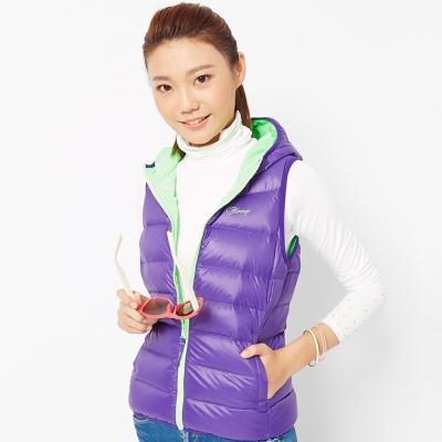 FIVE UP(女)-時尚輕量連帽羽絨背心-紫