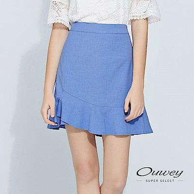 OUWEY歐薇 不規則剪裁飄逸荷葉褲裙(藍)