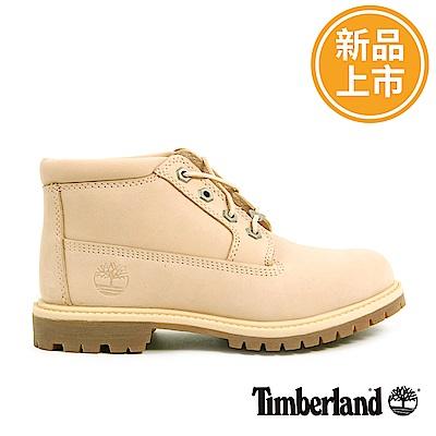 Timberland 女款淺米色絨面皮革防水休閒靴