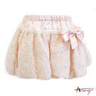 甜美緞面拼接蕾絲玫瑰蓬蓬短裙*4253粉
