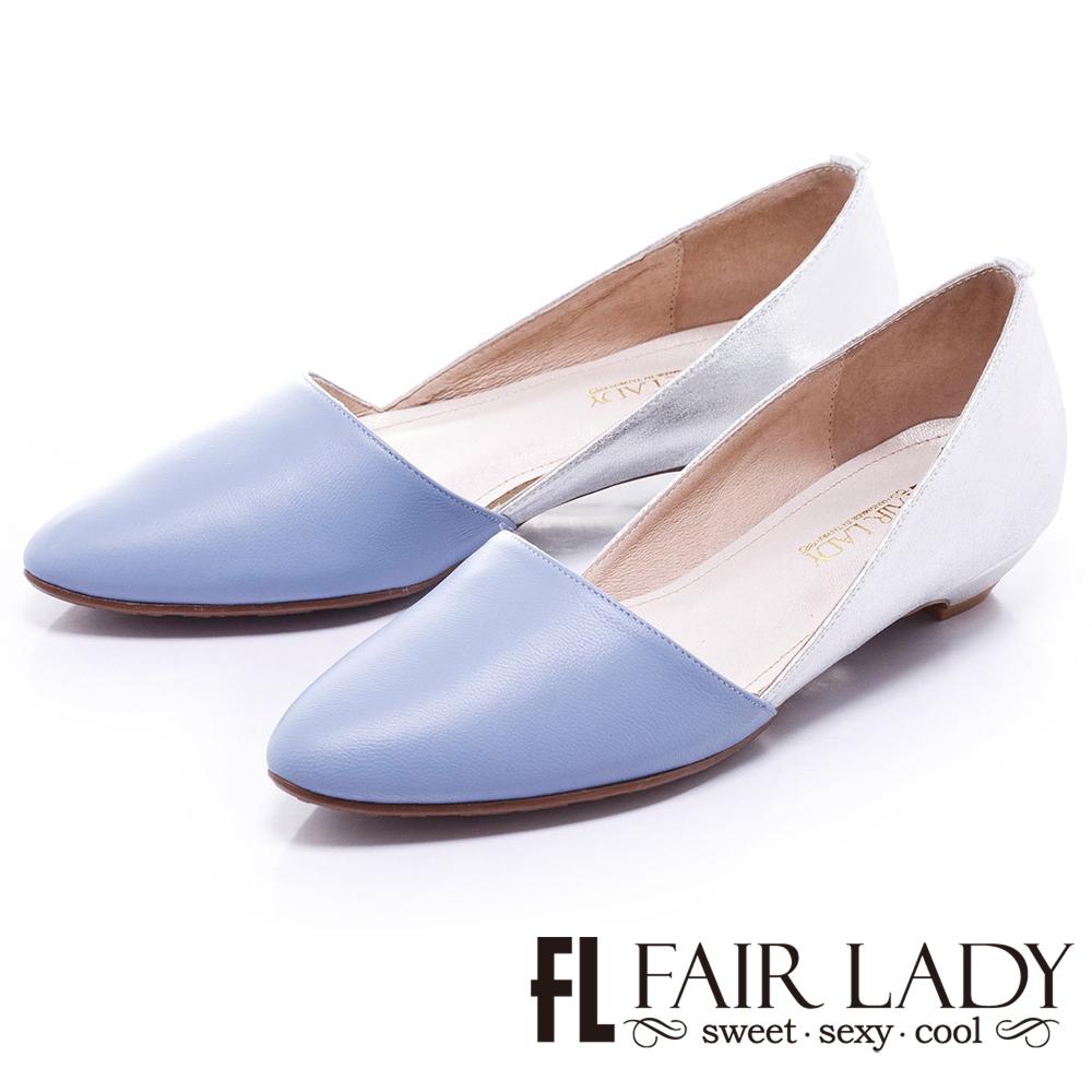 Fair Lady 金屬風撞色尖頭低跟鞋 藍