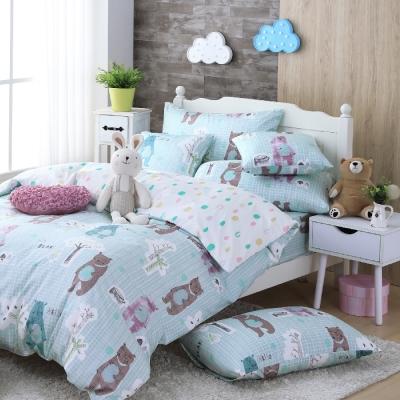 OLIVIA  小熊森林 藍  單人床包枕套兩件組