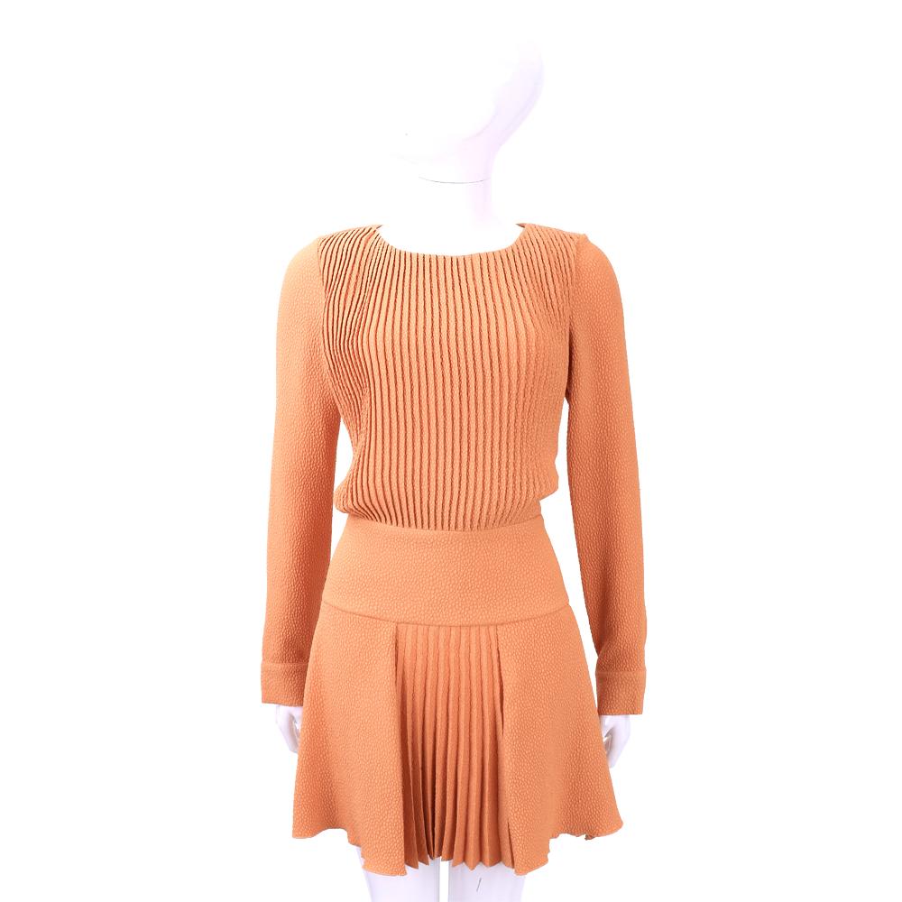 SEE BY CHLOE 橘色抓摺設計長袖洋裝