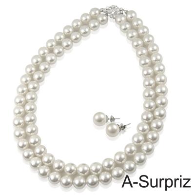 A-Surpriz-10mm典雅貝珍珠雙排項鍊套組-白