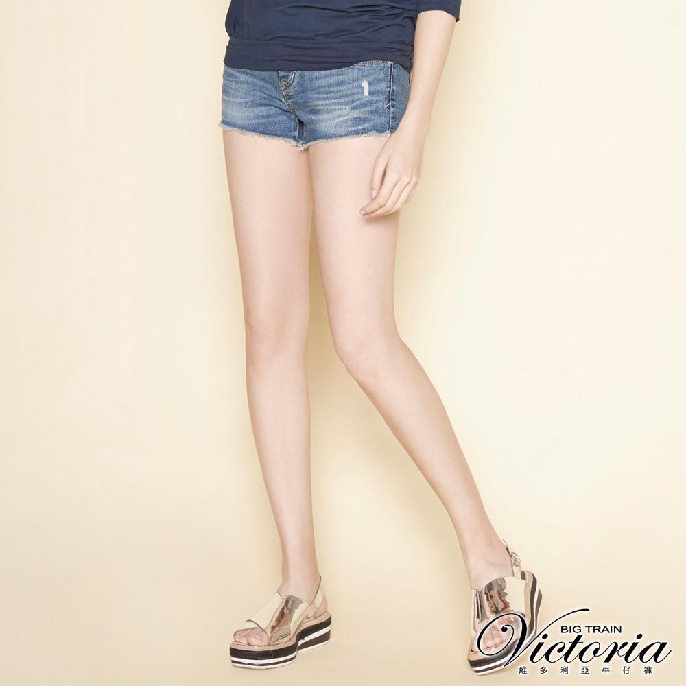 Victoria 合身彈性牛仔短褲-女-深藍