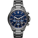 Michael Kors 時髦三眼計時腕錶-藍x鐵灰/45mm