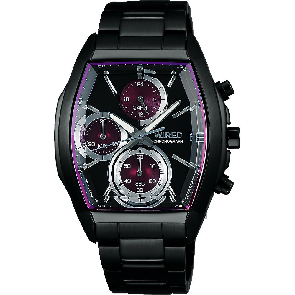 WIRED 東京潮流炫彩計時腕錶(AY8012X1)-紫圈x黑/38mm