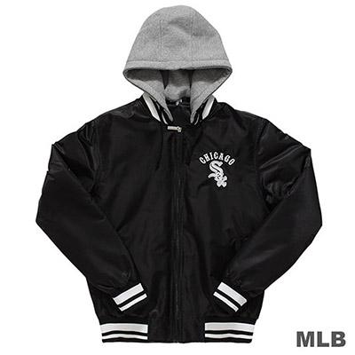 MLB-芝加哥白襪隊後背繡花鋪棉可拆帽棒球外套-黑 (男)