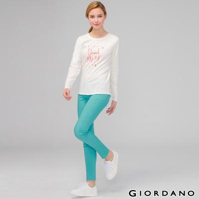 GIORDANO-女裝低腰彈力修身窄管休閒褲-61蒂芬妮綠