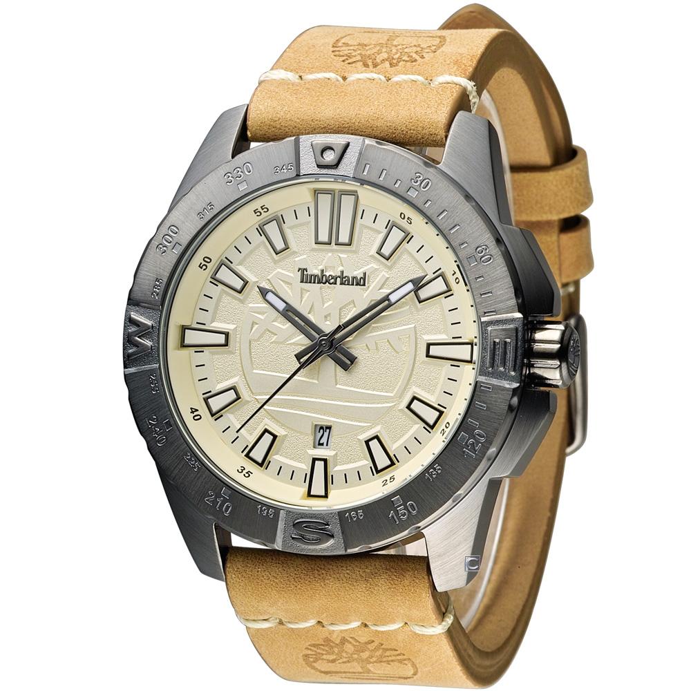 Timberland 城市探險時尚腕錶-米黃色/47mm