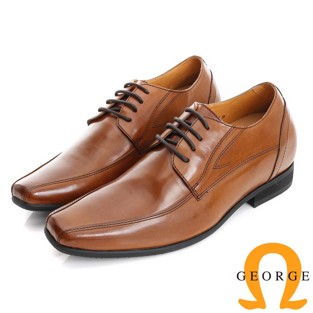 GEORGE 喬治-內增高系列 牛皮小方楦綁帶紳士鞋皮鞋(男)-棕色