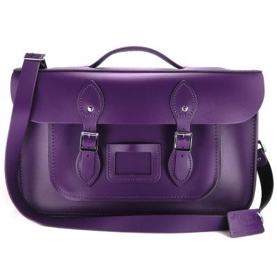 The Leather Satchel 英國手工牛皮劍橋包 肩背後背包 舞夜紫 15吋
