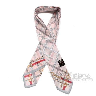 DAKS 鍊繩格紋涼感夏領巾(粉紅/附保冷劑)