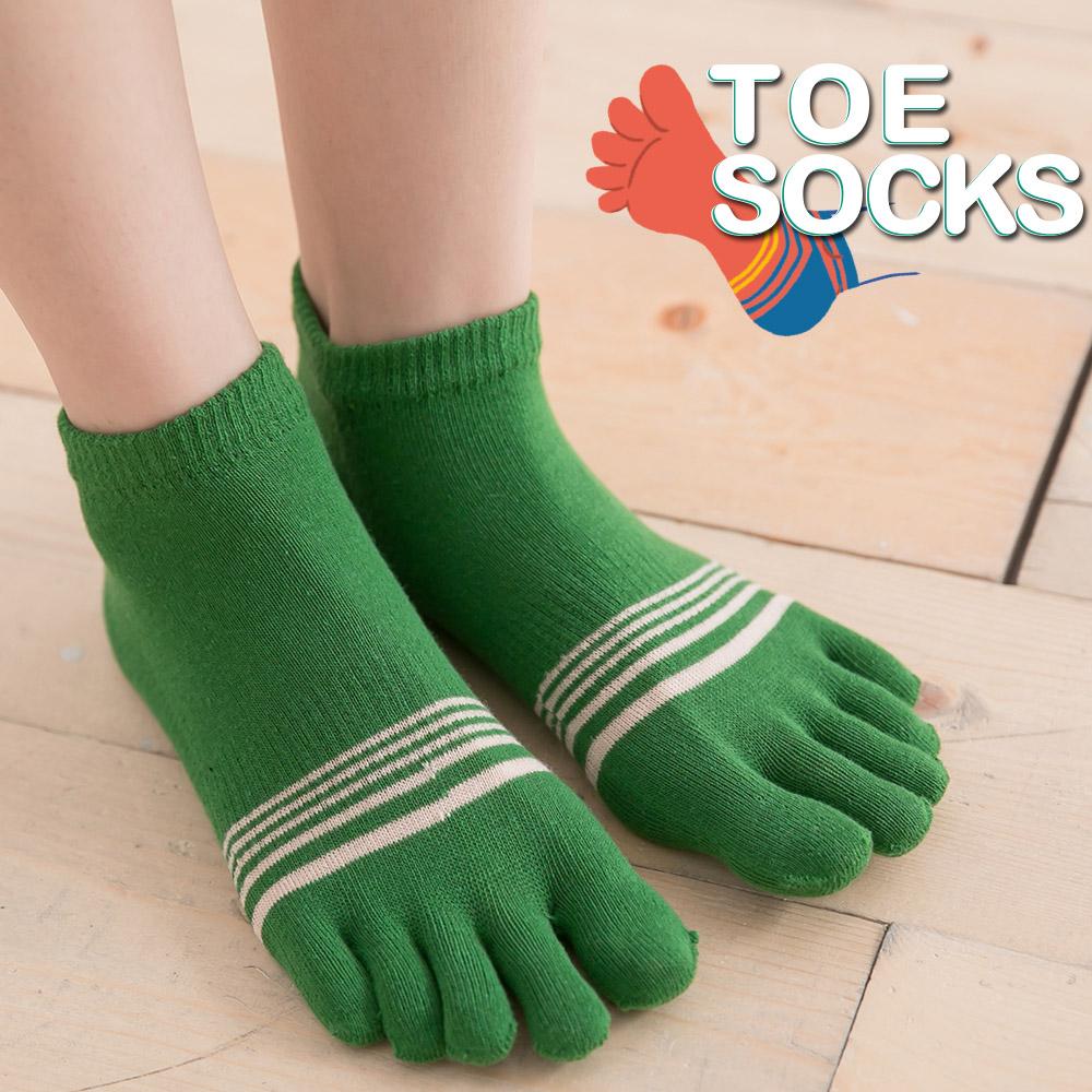蒂巴蕾TOE SOCKS乾爽五指短襪-細條紋