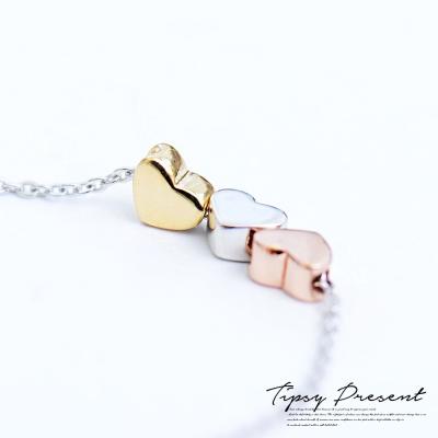 微醺禮物 925銀 三心相印 三色愛心 項鍊