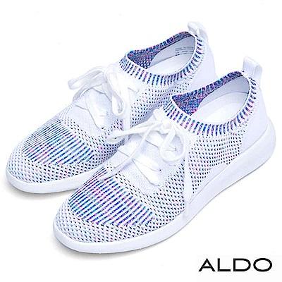 ALDO 彩色編織幾何直紋綁帶輕盈運動休閒鞋~氣質白色