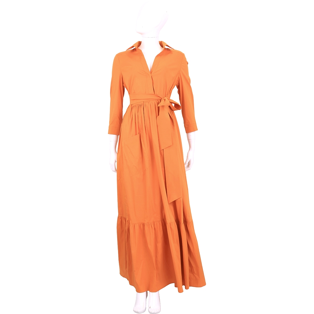 TWIN SET 橘色V領綁帶設計棉質洋裝