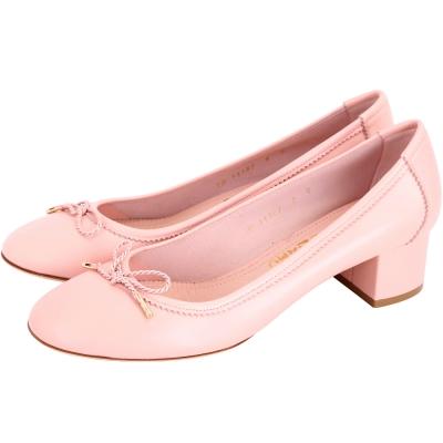 Salvatore Ferragamo ENEA 40 蝴蝶綁帶羊皮粗跟鞋(粉色)