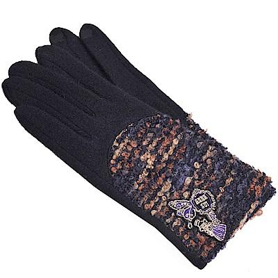 ANNA SUI 日本製安哥拉毛蝴蝶LOGO造型手套(黑色系)