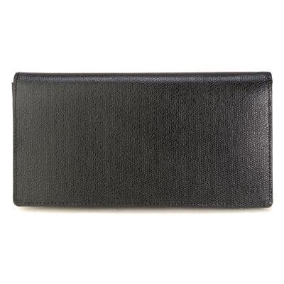 DAKS 防刮皮革多卡拉鍊零錢袋長夾-黑色